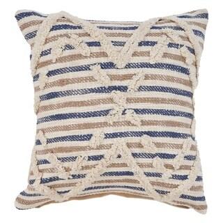 "LR Home Textured Blue Natural Stripe Throw Pillow ( 18"" x 18"" )"
