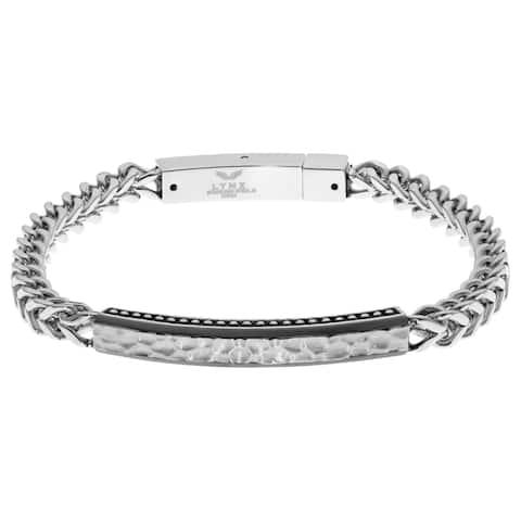 Black Ip Foxtail Id Stainless Steel Men's Bracelet with Push Lock