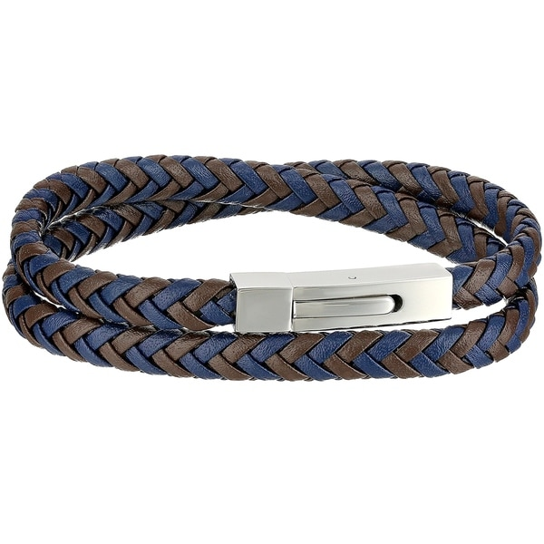 Blue Leather Men X27 S Wrap Bracelet With Stainless Steel Clasp