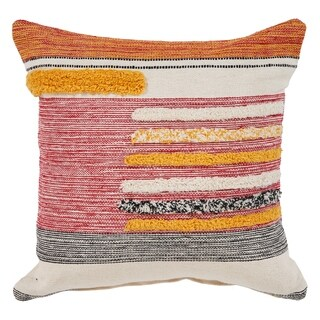 """LR Home Lined Multi Natural Throw Pillow ( 18"""" x 18"""" )"""