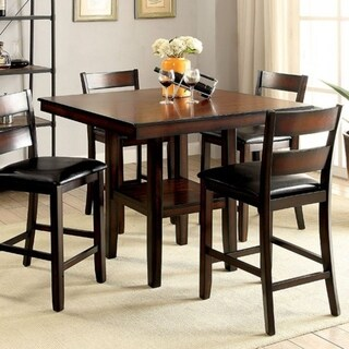 Wooden Counter High Table Set Of 5, Cherry Brown