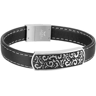 Stainless Steel and Black Leather Filigree Men's Id Bracelet