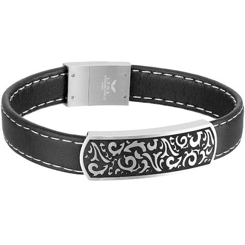 Stainless Steel and Black Leather Filigree Men's Id Bracelet