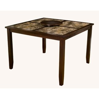 Faux Marble Top Large Pub Table With Removable Lazy Susan Brown