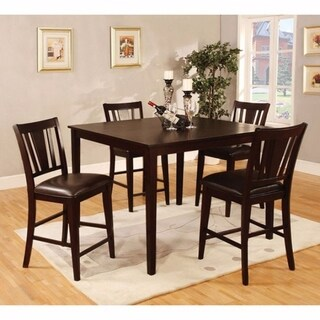 Wooden 5 Piece Square Top Counter Height Table Set, Dark Brown