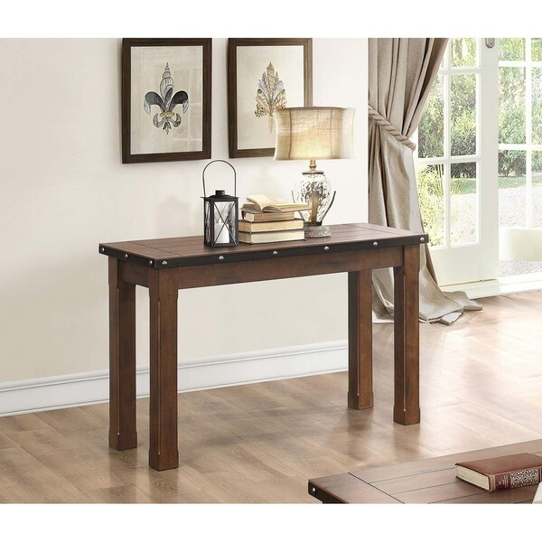Wooden Sofa Table with Rivet Banding, Burnished Brown