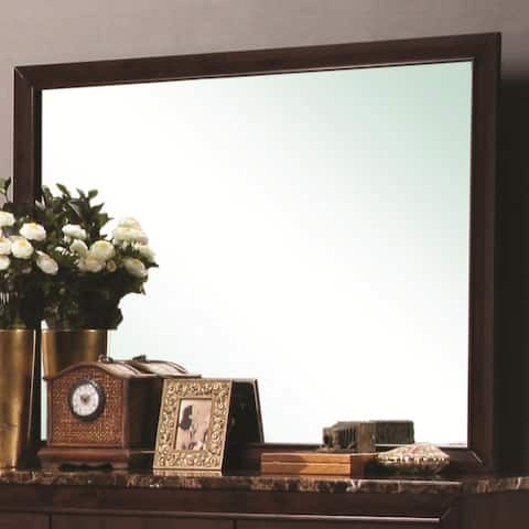 Rectangular Wooden Framed Mirror in Transitional Style, Brown