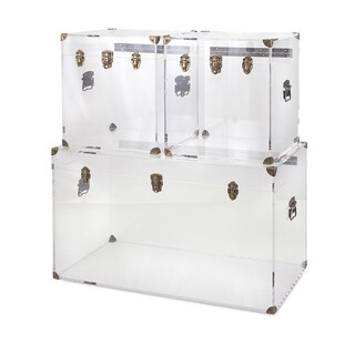 Stunning Preston Acrylic Coffee Table and Accent Trunks - Set of 3
