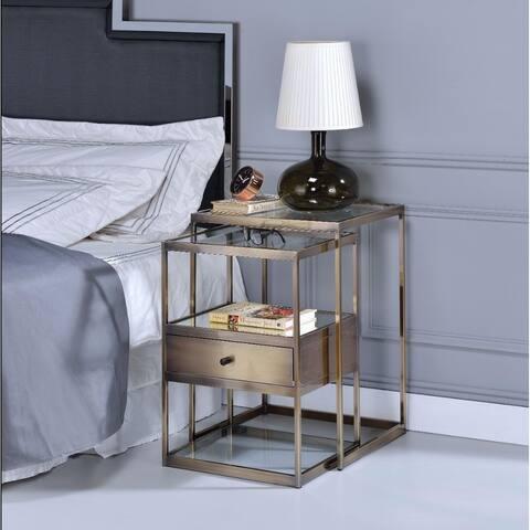 Stylish Nesting Tables Set, Clear Glass & Brass, 2 Piece Pack
