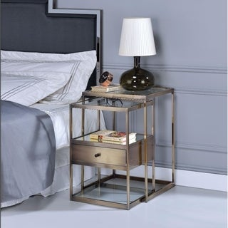 Stylish Nesting Tables Set, Clear Glass &  Brass, 2 Piece Pack