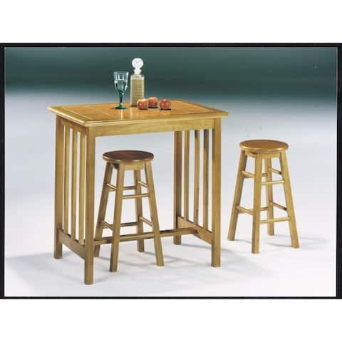 Wooden Breakfast Set, 3 Piece Pack, Oak & Terracotta Tile Top