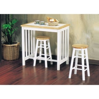 Wooden Breakfast Set, 3 Piece Pack, Natural & White Tile Top