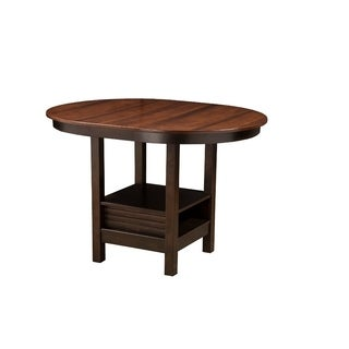 Oval Shaped Rubberwood Pub Table With Bottom Compartment Brown