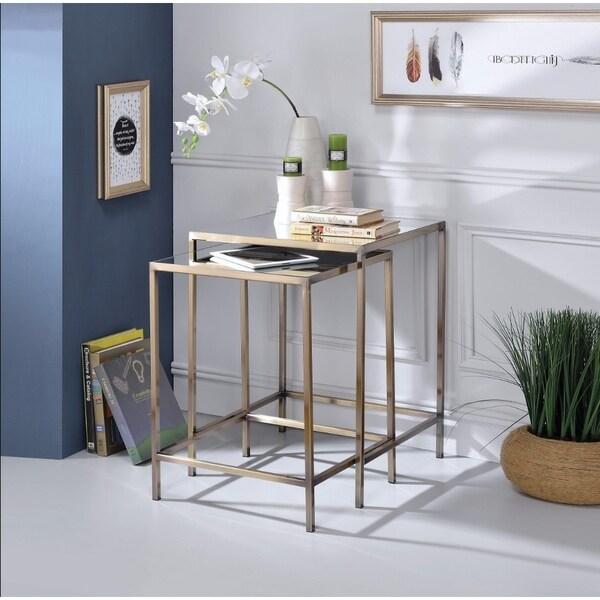 Astonishing Nesting Tables Set, Mirror & Brass
