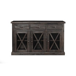 Wooden Sideboard with 3 Drawers and Doors Brown