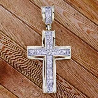 1/3 cttw White Diamond Ladies Cross pendant necklace 10k Yellow & White Gold