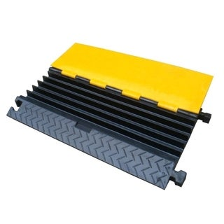 Pyle Cable Protector Cover Ramp - Cord/Wire Safety Concealment Track with Flip-Open Access Lid (Five Channel Extra Wide Style)