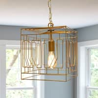 "12"" Modern Plug-in and Hardwire Hanging Pendant - Gold"