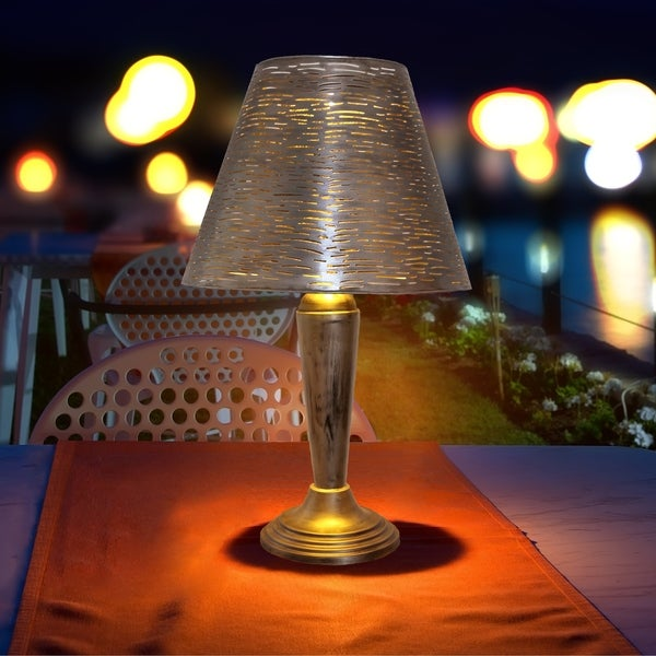"""Outdoor Table Lamps For Sale: Shop 23"""" Punched Metal Outdoor Solar LED Table Lamp"""