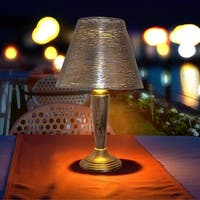 "23"" Punched Metal Outdoor Solar LED Table Lamp"