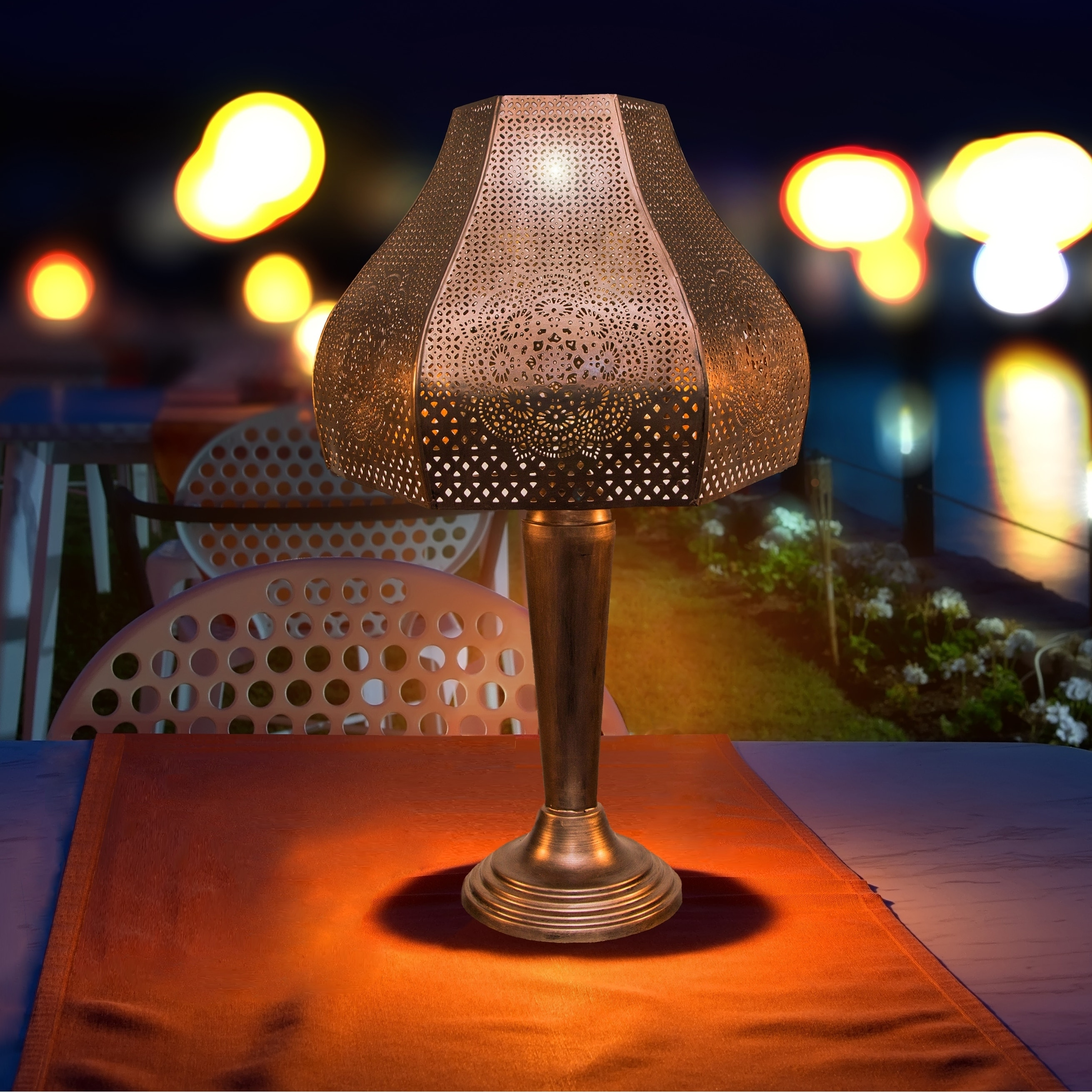 23 75 Moroccan Punched Metal Outdoor Solar Led Table Lamp