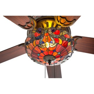 "52"" W Tiffany Style Stained Glass Magna Carta Ceiling Fan"