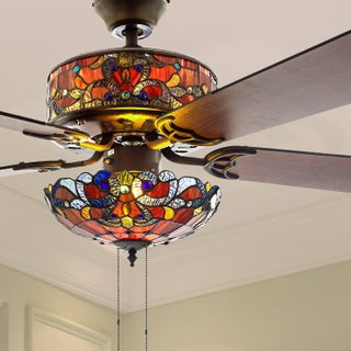 """52"""" W Tiffany Style Stained Glass Magna Carta Ceiling Fan"""