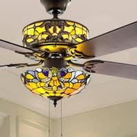 """52"""" W Tiffany Style Stained Glass Magna Carta Ceiling Fan - 52""""L x 52""""W x 16.5"""