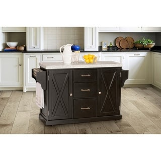 HIllsdale Brigham Kitchen Island in Black with Granite Top