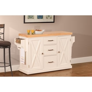 shop hillsdale brigham kitchen island in white with wood top free rh overstock com