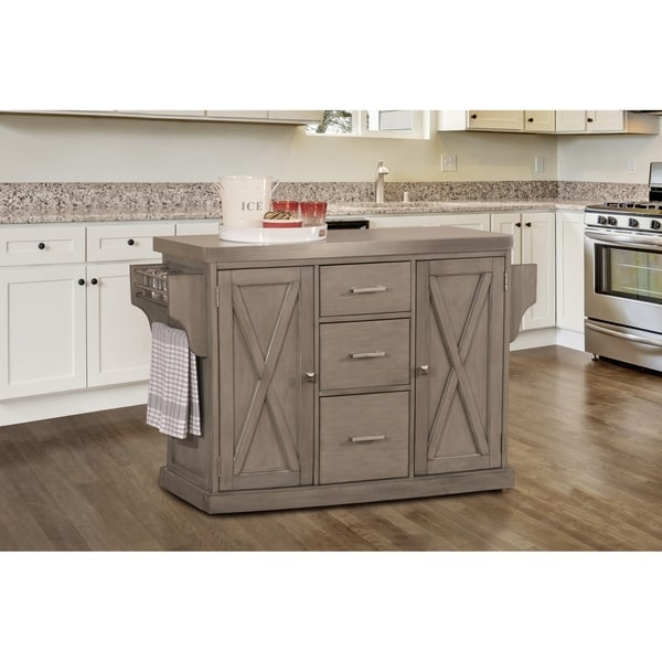 Hillsdale Brigham Kitchen Island In Gray With Stainless Steel Top