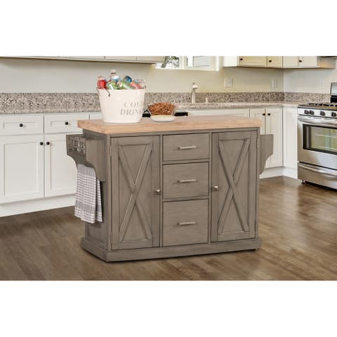 Hillsdale Brigham Kitchen Island in Gray with Wood Top