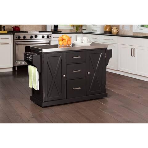 Hillsdale Brigham Kitchen Island in Black with Stainless Steel Top