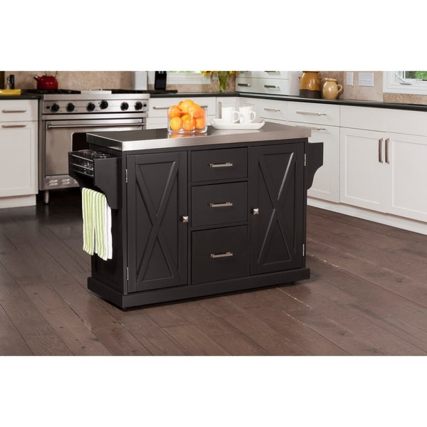 Hillsdale Brigham Kitchen Island In Black With Stainless Steel Top