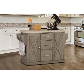 Hillsdale Brigham Kitchen Island in Gray with Granite Top
