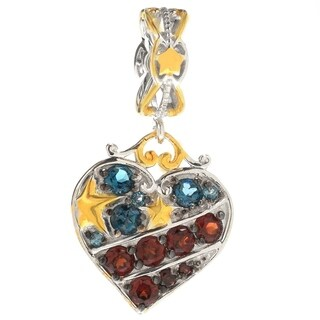 Michael Valitutti Palladium Silver London Blue Topaz & Garnet Heart Shaped Charm