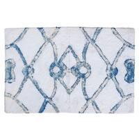 "Unbelievable Mats 18"" x 30"" White and Blue Handmade Cotton Bath Mat"