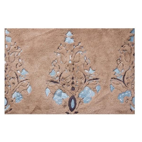 """Unbelievable Mats 18"""" x 30"""" Brown Embroidery Cotton Bath Mat"""
