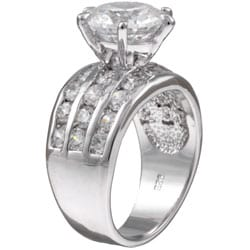 Sterling Essentials Sterling Silver CZ Wedding Ring - Thumbnail 1