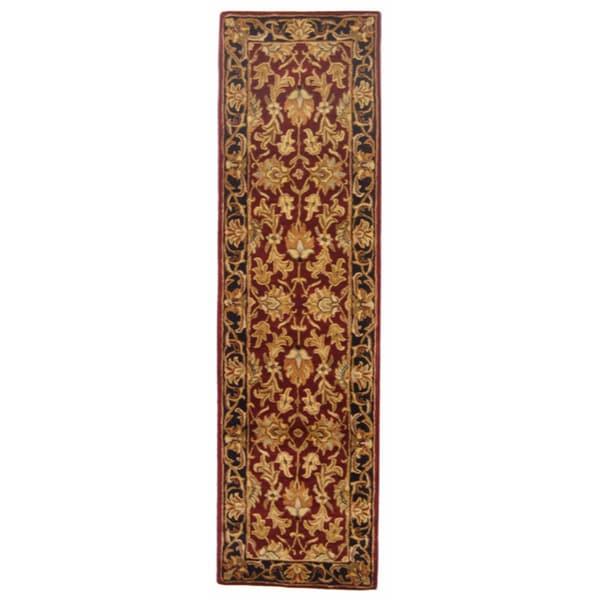 Safavieh Handmade Heritage Traditional Kashan Burgundy/ Black Wool Runner (2' x 8')