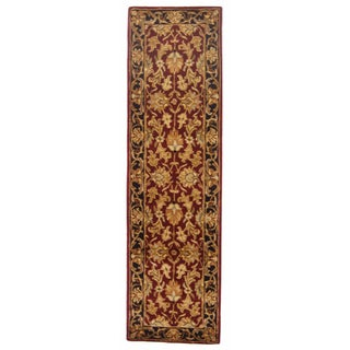 Safavieh Handmade Heritage Traditional Kashan Burgundy/ Black Wool Runner (2' x 8')