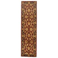 Safavieh Handmade Heritage Traditional Kashan Burgundy/ Black Wool Runner Rug