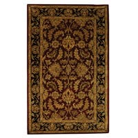 Safavieh Handmade Heritage Traditional Kashan Burgundy/ Black Wool Rug - 3' x 5'