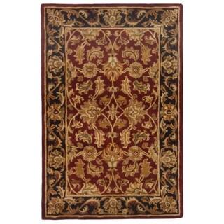 Safavieh Handmade Heritage Traditional Kashan Burgundy/ Black Wool Rug (4' x 6')