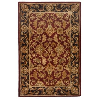 Safavieh Handmade Heritage Traditional Kashan Burgundy/ Black Wool Rug (4' x 6')