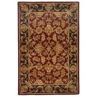 Safavieh Handmade Heritage Traditional Kashan Burgundy/ Black Wool Rug - 4' x 6'