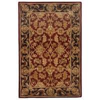 Safavieh Handmade Heritage Traditional Kashan Burgundy/ Black Wool Rug - 4' x 6'