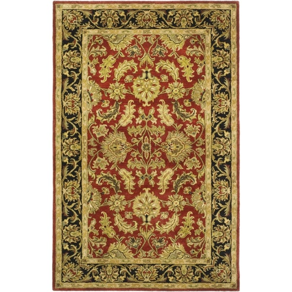 Safavieh Handmade Heritage Traditional Kashan Burgundy/ Black Wool Rug (5' x 8')