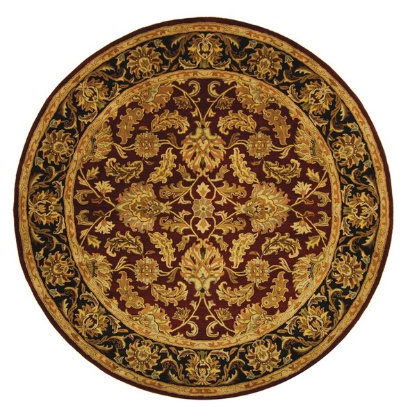 Safavieh Handmade Heritage Traditional Kashan Burgundy/ Black Wool Rug (6' Round)