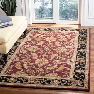 Safavieh Handmade Heritage Traditional Kashan Burgundy/ Black Wool Rug (6' x 9')